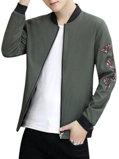 Embroidery Crane Zip Up Stand Collar Jacket - ARMY GREEN 3XL