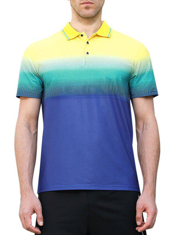 Color Block Collar Faster Moisture Absorption Gym Polo Shirt - BLUEBERRY BLUE L