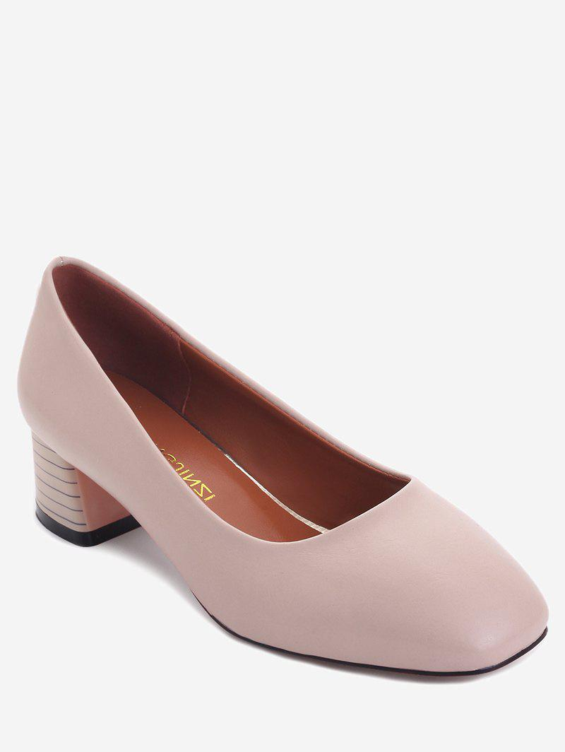 Plus Size Casual Block Heel Square Toe Pumps - DEEP PEACH 38