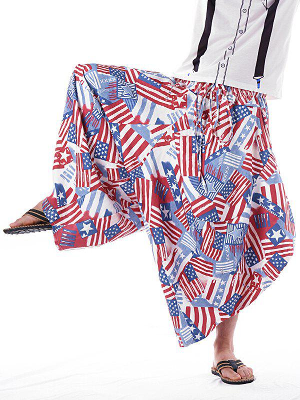 Striped Star Print Drawstring Elastic Waistband Harem Pants - multicolor L