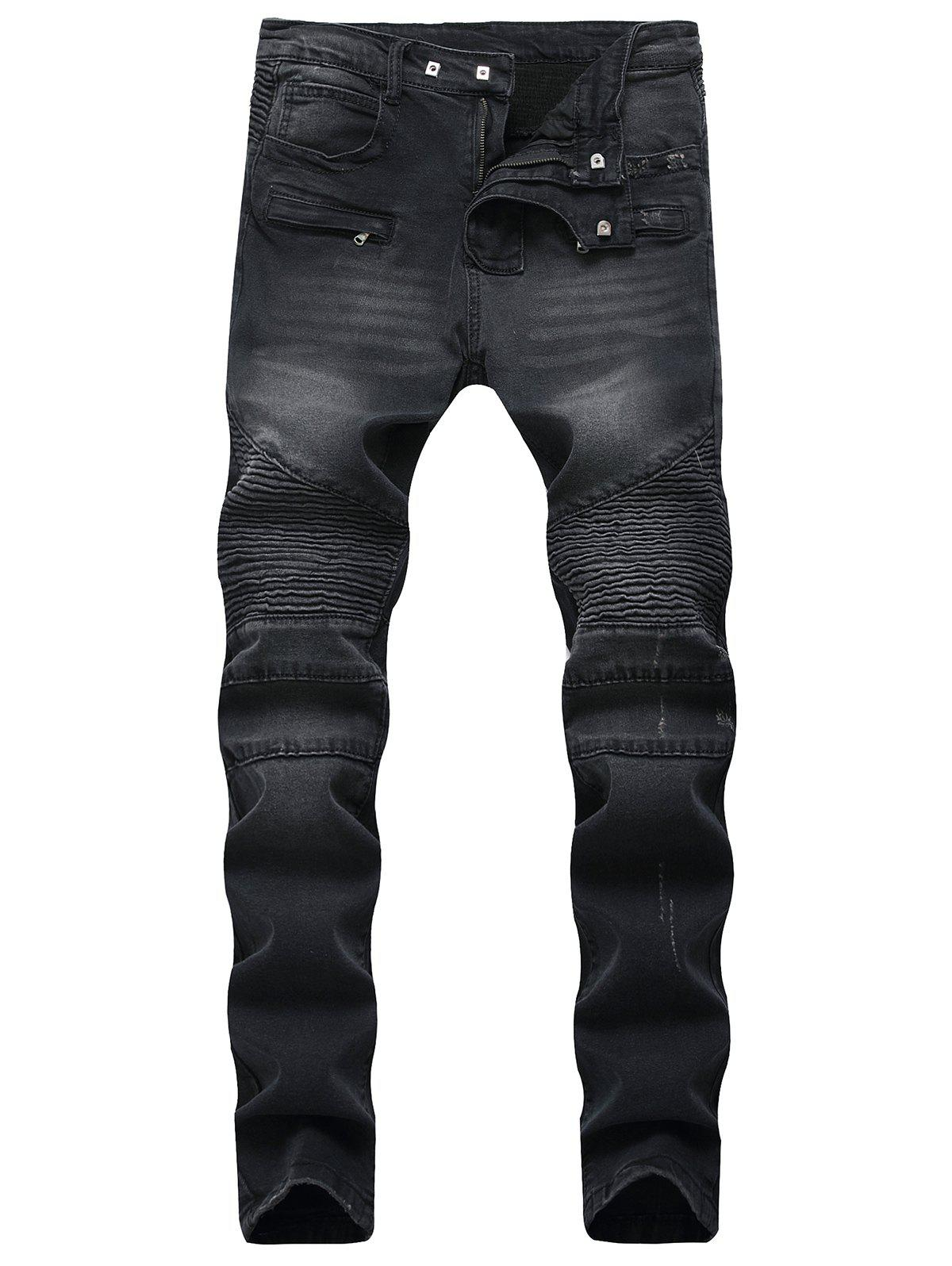 Patchwork Pleated Tapered Biker Jeans - BLACK 36