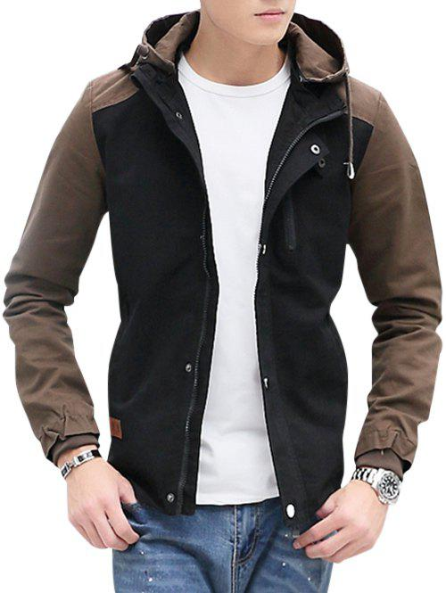 Contrast Color Zip Up Hooded Jacket - BLACK XL