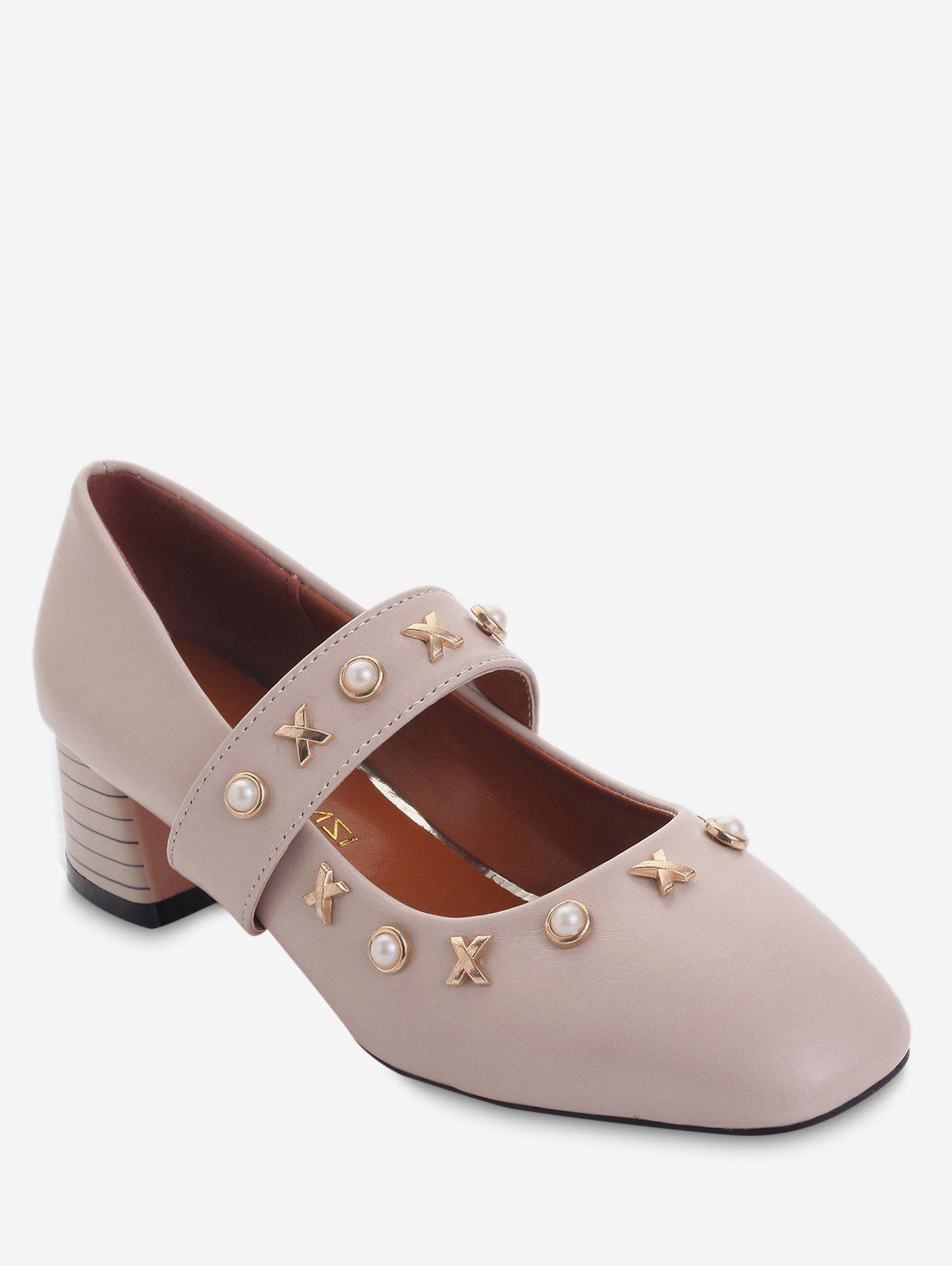 Plus Size Block Heel Faux Pearls Metal Chic Pumps - DESERT SAND 40