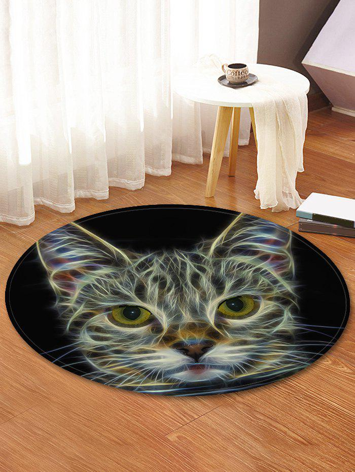 Cat Pattern Round Area Rug - BLACK 120 CM (ROUND)