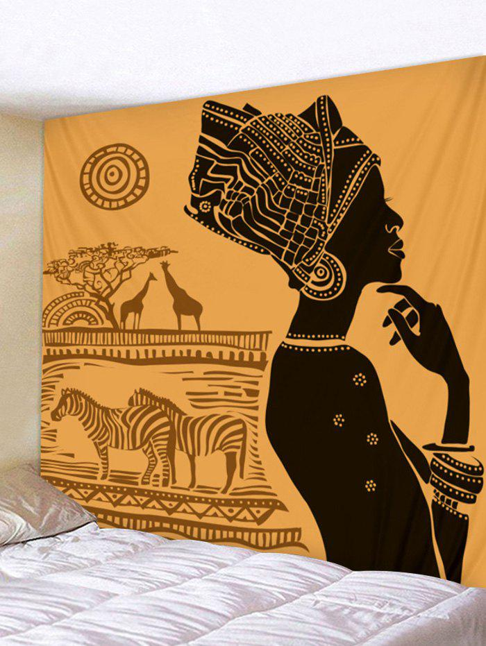 Thinking Women with Animal Print Wall Background Tapestry