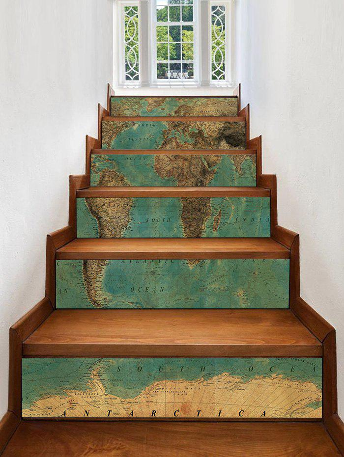 Vintage Map Printed Decorative Stair Decals - multicolor 6PCS:39*7 INCH( NO FRAME )