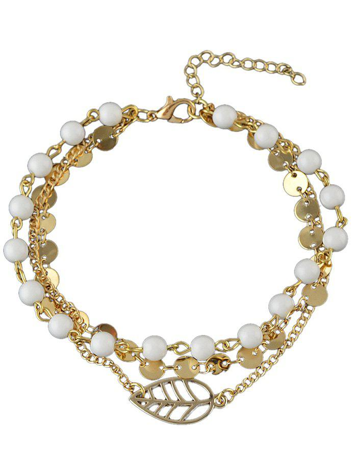 Multi-layer Beaded Disc Chain Anklet - GOLD
