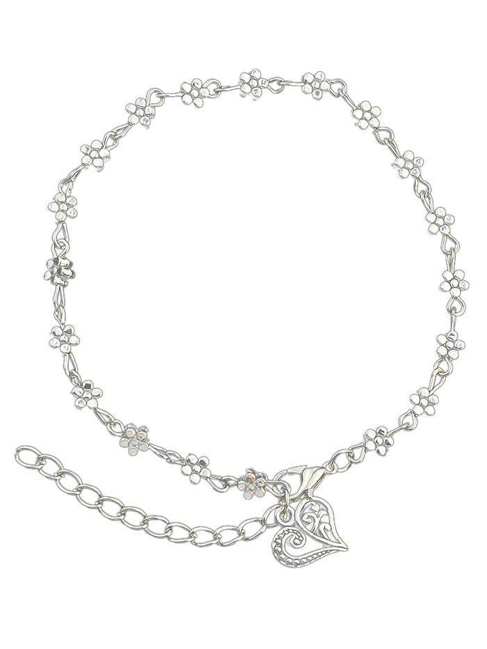 Tiny Flower Chain Anklet With Heart - SILVER