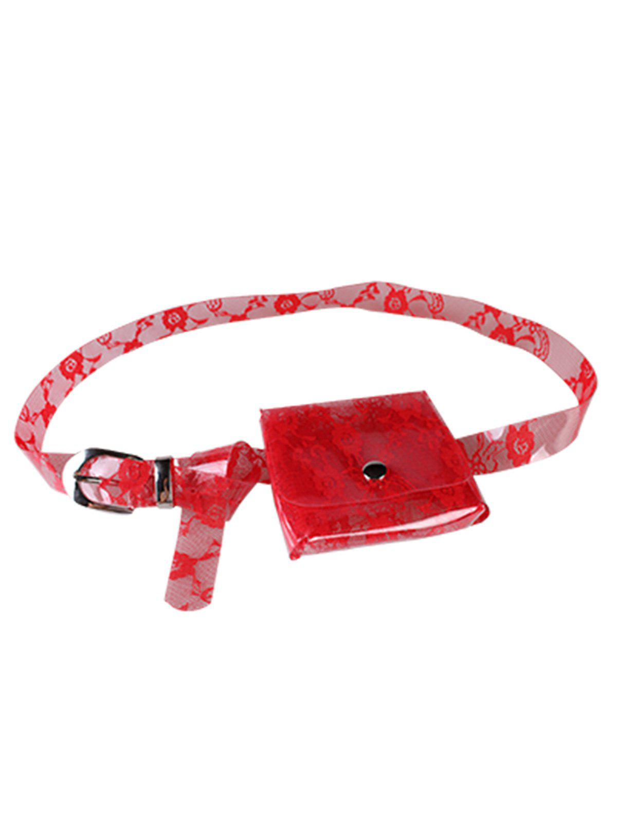 Fanny Pack Floral Transparent PVC Belt Bag - RED
