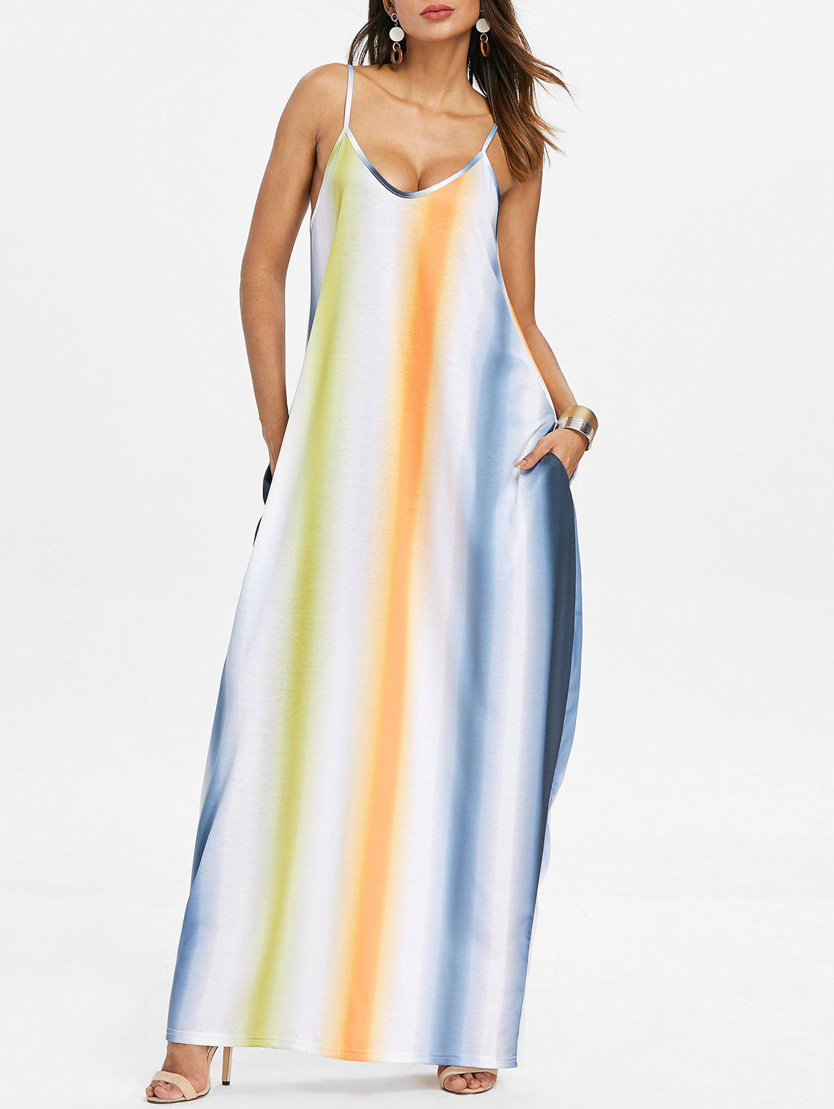 Striped Color Block Floor Length Dress - multicolor B XL