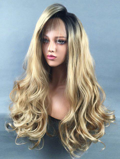 Inclined Bang Colormix Long Wavy Lace Front Synthetic Wig - multicolor
