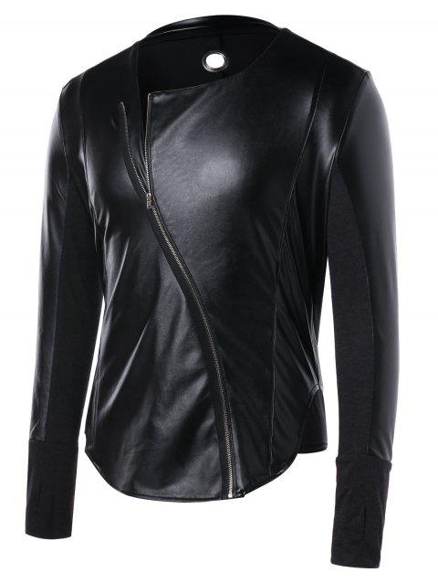 Arc Hem Zip Up Faux Leather Panel Jacket - BLACK L