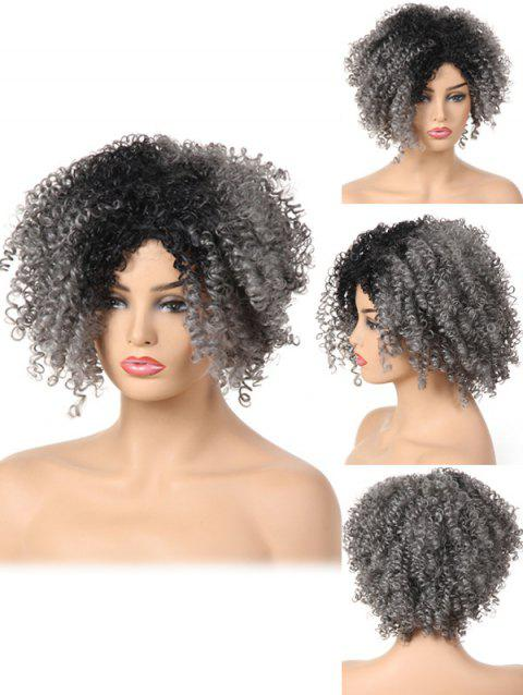 Short Oblique Bang Fluffy Curly Colormix Synthetic Wig - multicolor