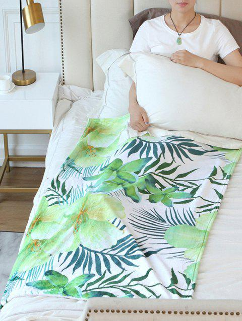 Leaf Flower Pattern Flannel Soft Bed Blanket - multicolor W51 INCH*L59 INCH