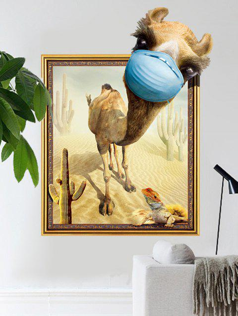 3D Creative Camel Printed Removable Wall Sticker - multicolor