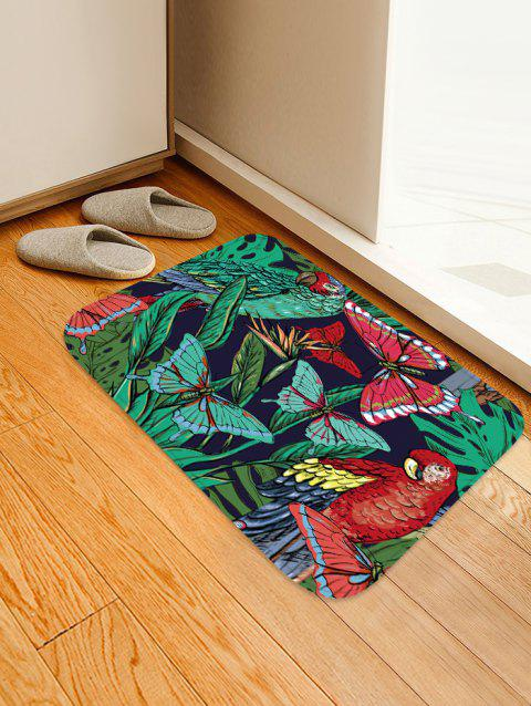Butterfly and Bird Pattern Flannel Area Rug - multicolor W16 INCH * L24 INCH