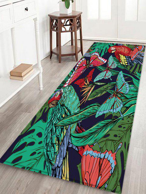 Butterfly and Bird Pattern Flannel Area Rug - multicolor W16 INCH * L47 INCH