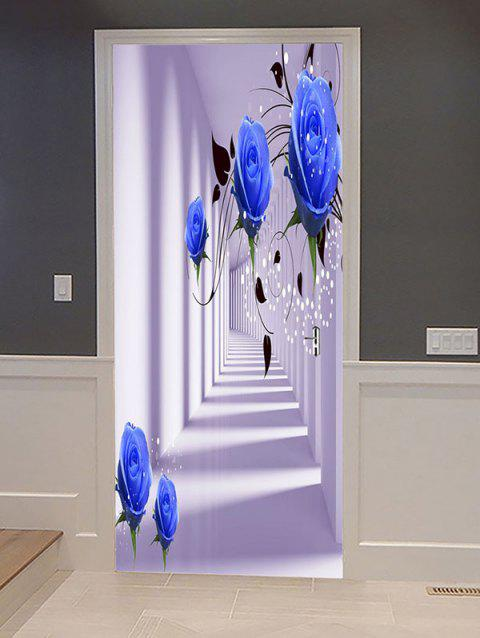 Rose Passageway Print Door Art Stickers - multicolor 38.5*200CM*2PCS