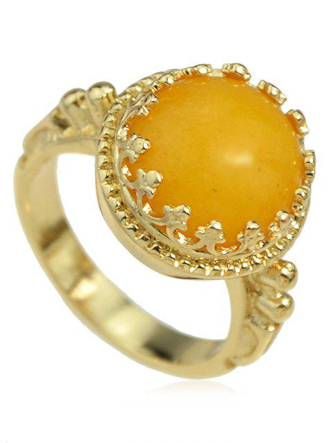 Hollow Round Artificial Gemstone Ring - YELLOW ONE-SIZE