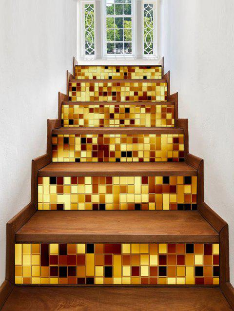 Sparkly Plaid Print Stair Stickers - multicolor 6PCS:39*7 INCH( NO FRAME )