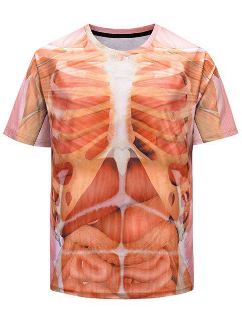 3D Internal Organs Rib Cage Print Funny T-shirt - LIGHT SALMON 2XL