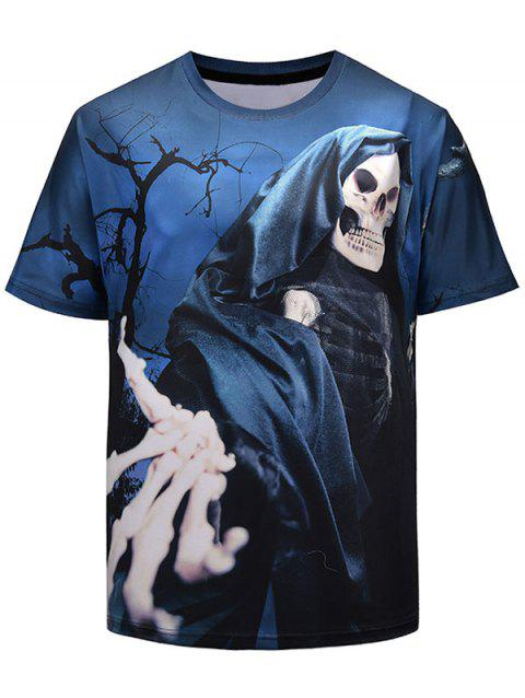 Human Skeleton Short Sleeve T-shirt - BLUE EYES 2XL