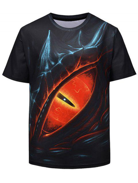 3D Devil Eye Print Crew Neck T-shirt - BLACK L