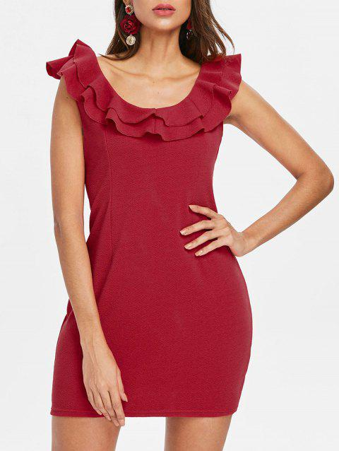 Ruffle Insert Bodycon Dress - LOVE RED S