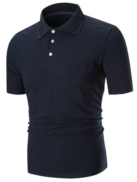Solid Color Pocket Short Sleeve Loose Polo Shirt - BLACK 2XL