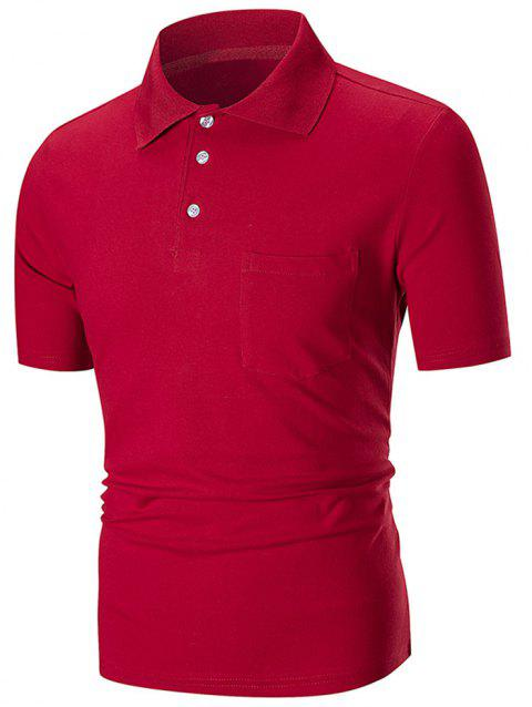 Solid Color Pocket Short Sleeve Loose Polo Shirt - RED L