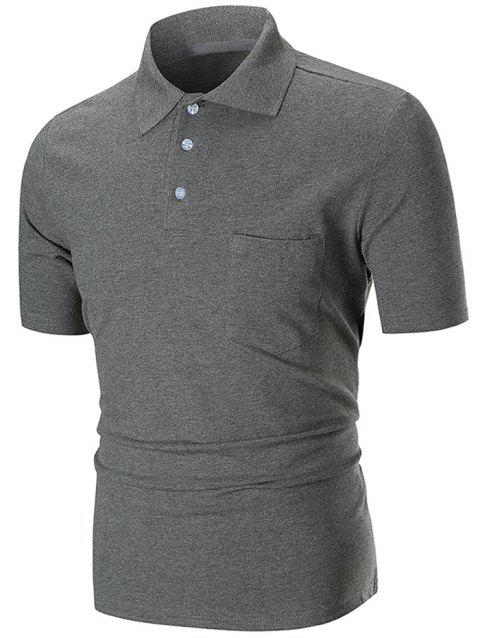 Solid Color Pocket Short Sleeve Loose Polo Shirt - GRAY M