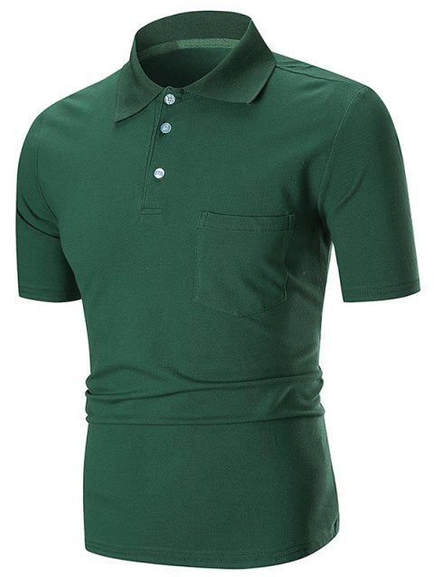 Solid Color Pocket Short Sleeve Loose Polo Shirt - GREEN XL