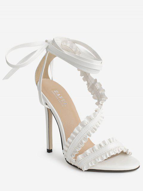 Leisure High Heel Ruffles Lace Up Sandals - WHITE 39