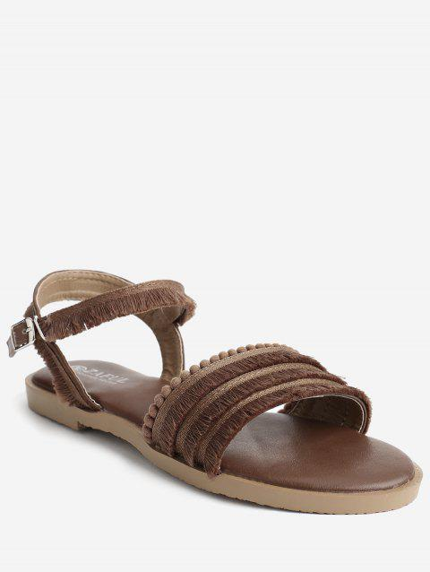 Chic Fringes Flat Heel Slingback Sandals - BROWN 36