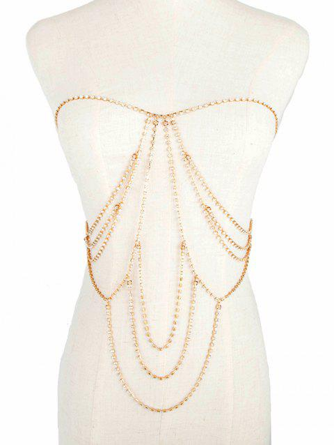 Rhinestone Inlaid Party Bikini Body Jewelry - GOLD