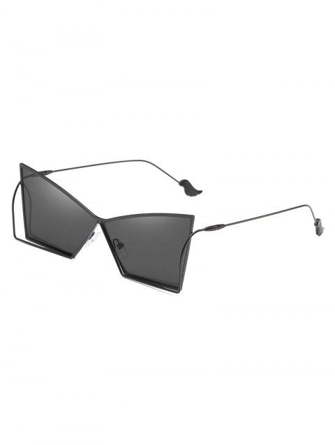 Hollow Out Frame Irregular Lens Sunglasses - BLACK