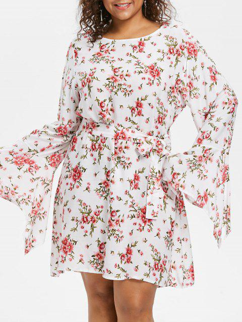 Floral Belted Plus Size Dress - WHITE 5X