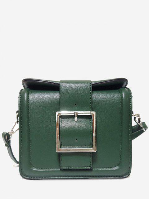 PU Leather Buckled Crossbody Bag - GREEN HORIZONTAL