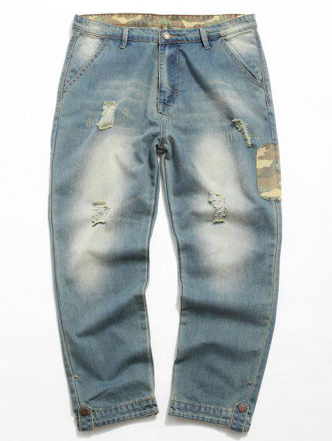 Camouflage Panel Zip Fly Distressed Jeans - DENIM DARK BLUE L