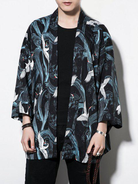 Open Front Loose Red-crowned Crane Print Sun Protection Cardigan - multicolor XL