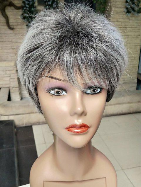 Short Inclined Bang Colormix Straight Layer Synthetic Wig - multicolor