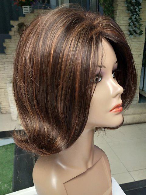 Short Side Fringe Colormix Tail Upwards Straight Synthetic Wig - multicolor