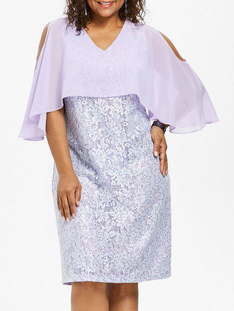Plus Size Lace Capelet Knee Length Dress - MAUVE 2X
