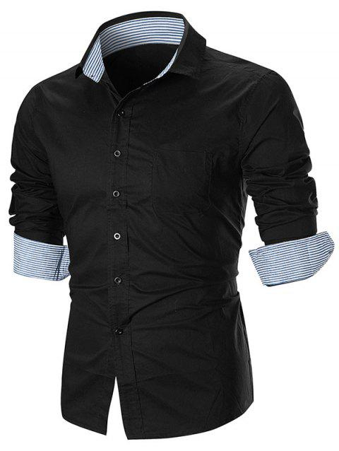 Striped Splicing Long Sleeve Button Down Shirt - BLACK XL