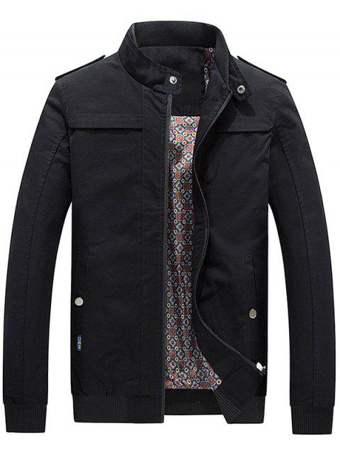 Stand Collar Zip Up Epaulet Design Jacket - BLACK L