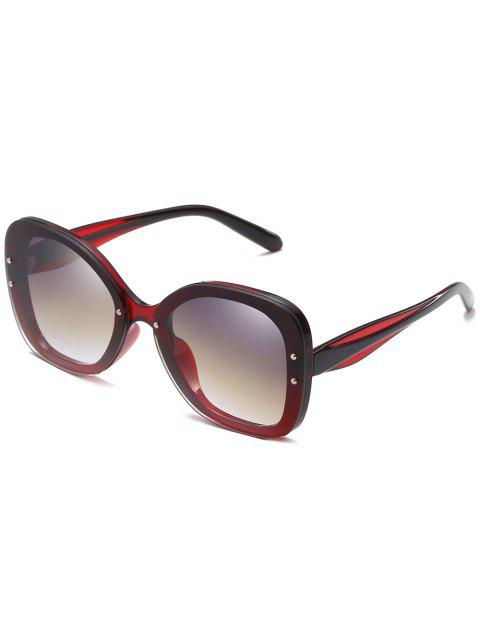 Retro Full Frame Rivets Sun Shades Sunglasses - RED WINE