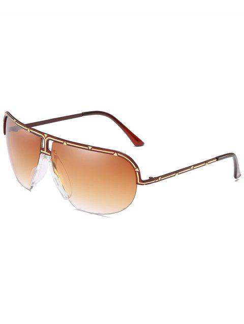 Vintage Metal Half Frame Shield Sunglasses - COFFEE