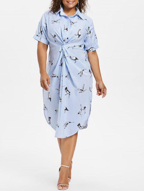 Plus Size Knot Striped Dress - LIGHT BLUE 2X