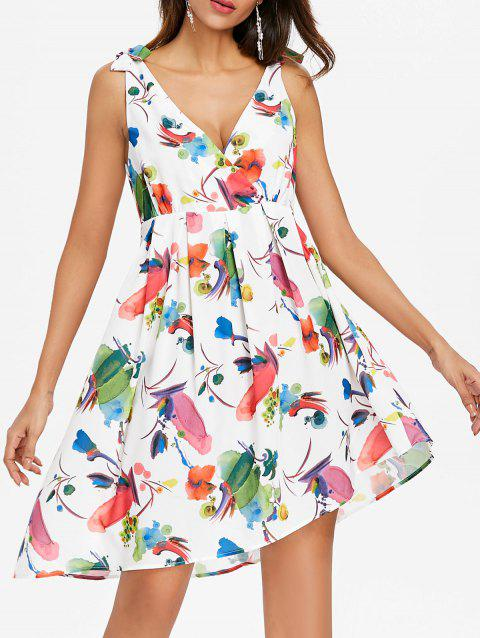 Sleeveless Print Back Cut Out Dress - WHITE XL