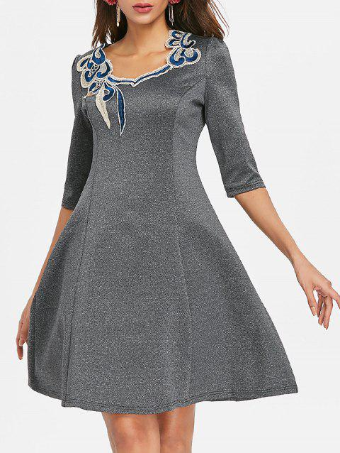 Lace Applique Swing Dress - DARK GRAY 2XL